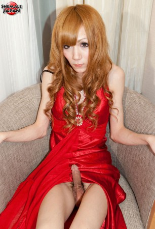japanese newhalf miki b in red dress